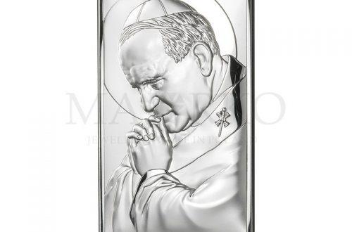 obrazek na chrzest z podobizną św. Jana Pawła 2
